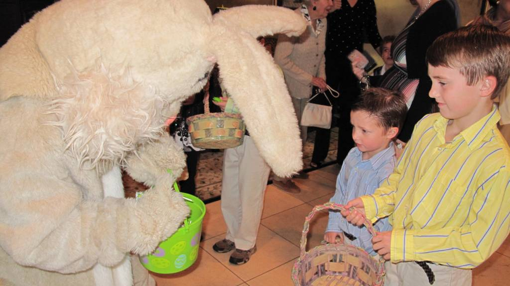 Our boys with yet another Easter bunny that is not fooling them